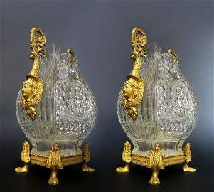 Pair of Museum Quality Bronze & Baccarat Crystal Vases