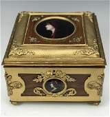 Large French Bronze & Enamel Jewelry Box, 19th C.