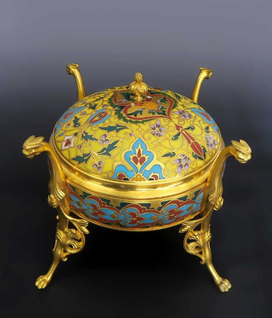 Barbedienne Napoleon III Gilt Bronze & Champleve Casket - 3