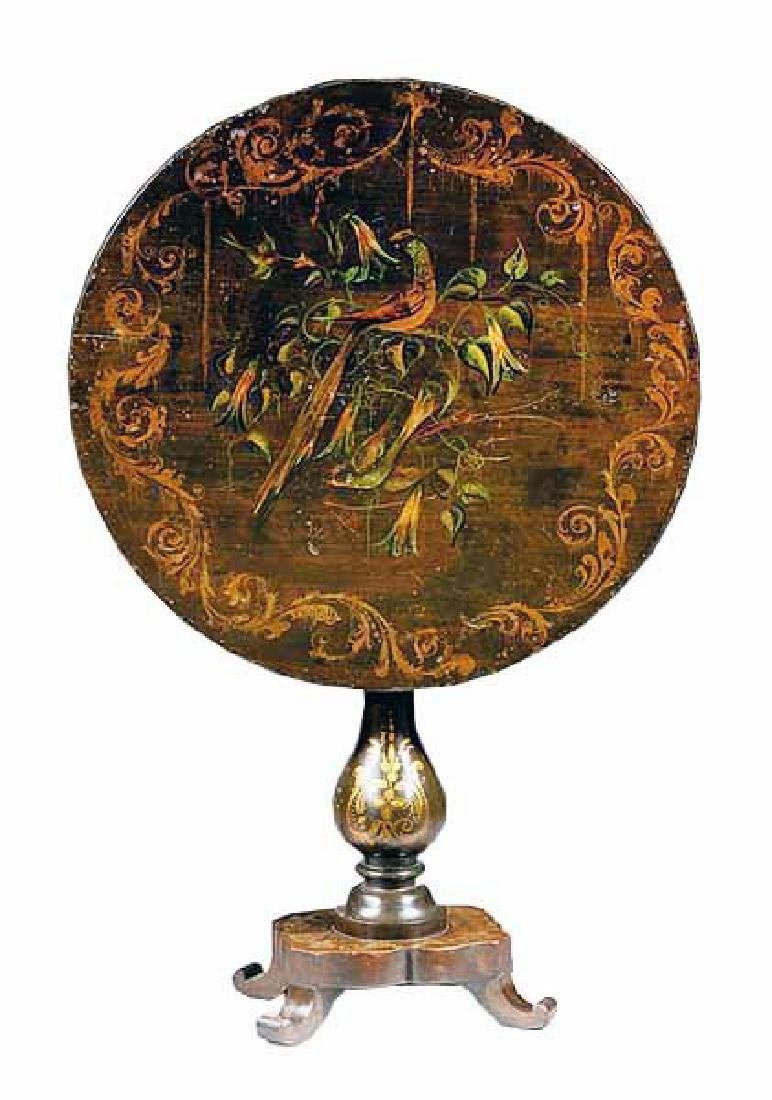 19th C. Continental Hand painted Tilt top Table