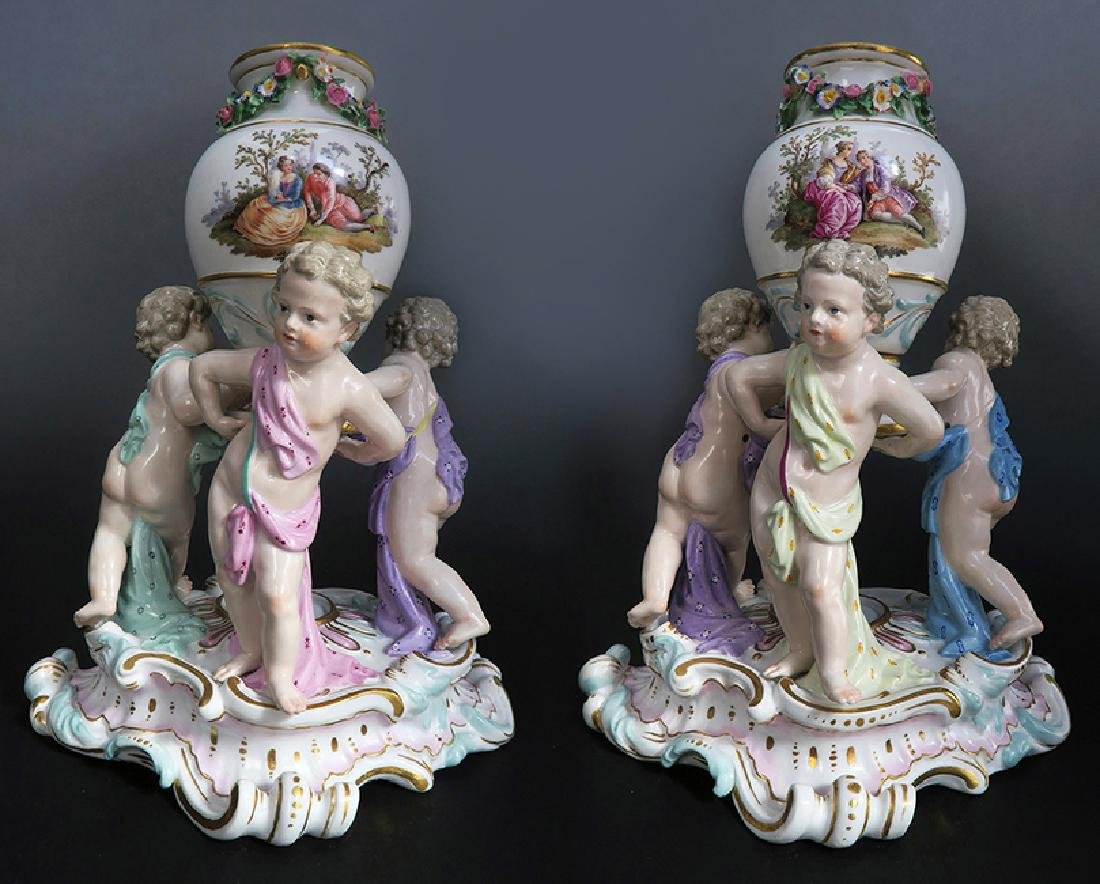 "19th C. Pair of ""Meissen"" Porcelain Pot-Pourri Vases - 2"