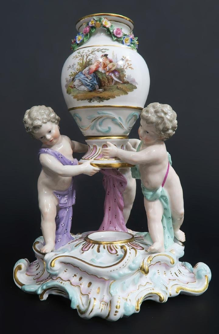 "19th C. Pair of ""Meissen"" Porcelain Pot-Pourri Vases - 4"