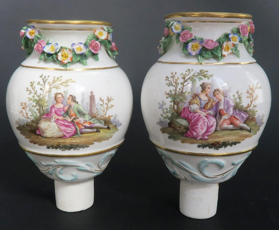 "19th C. Pair of ""Meissen"" Porcelain Pot-Pourri Vases - 7"