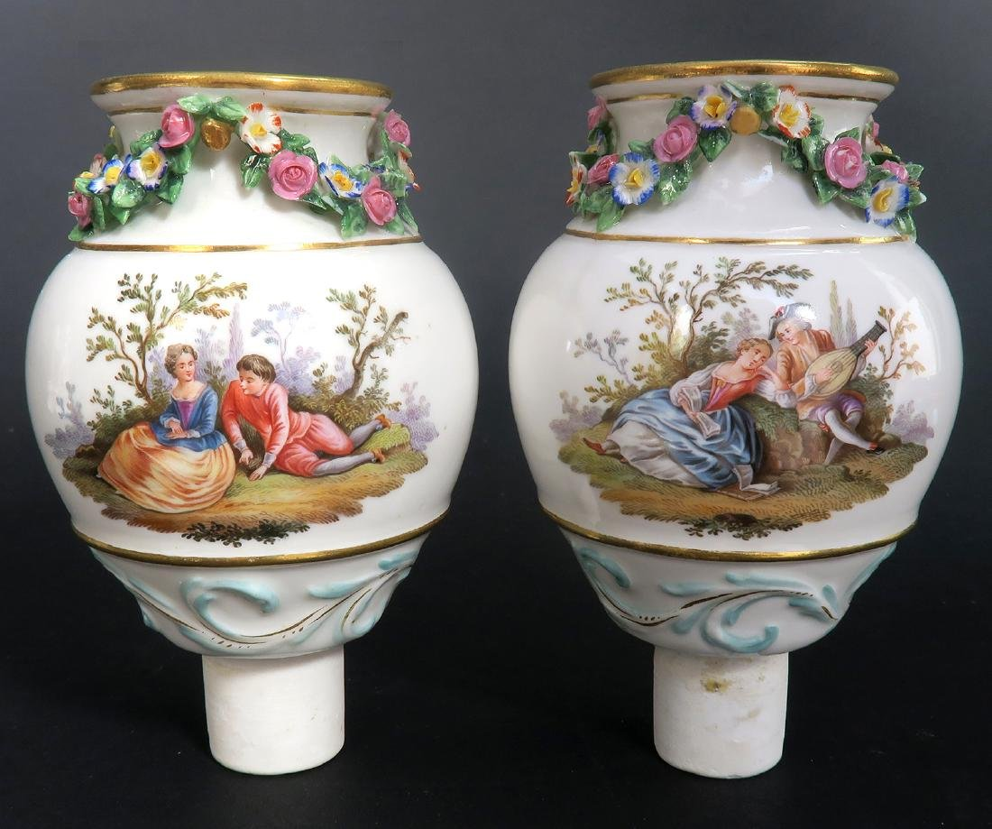"19th C. Pair of ""Meissen"" Porcelain Pot-Pourri Vases - 8"