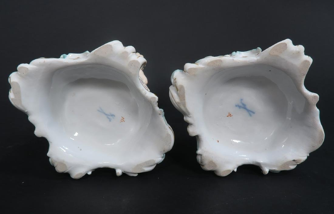 "19th C. Pair of ""Meissen"" Porcelain Pot-Pourri Vases - 9"