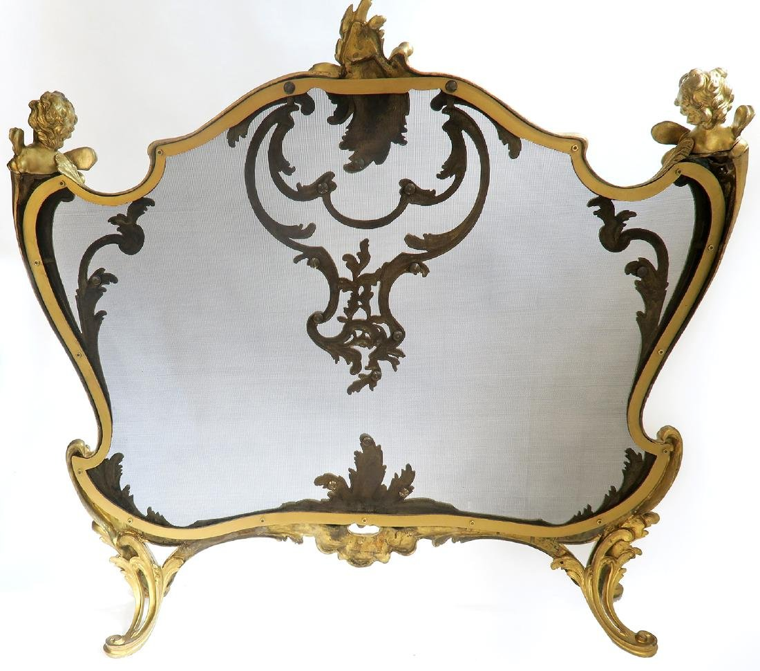 "19th C. ""F. Linke"" Figural Bronze Fireplace Guard - 4"
