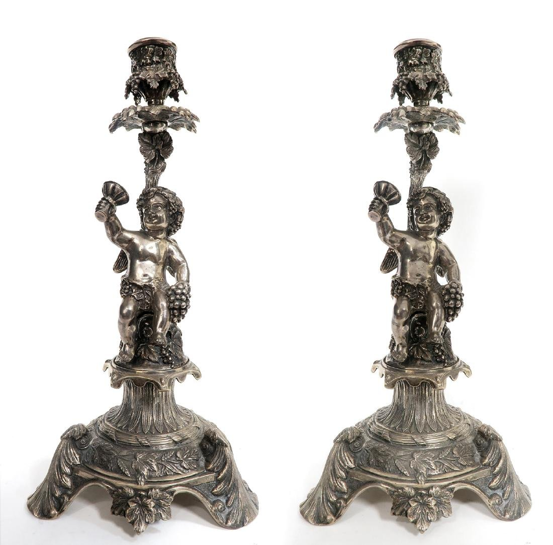 19th C Pair of French Figural Silver (900) Candlesticks