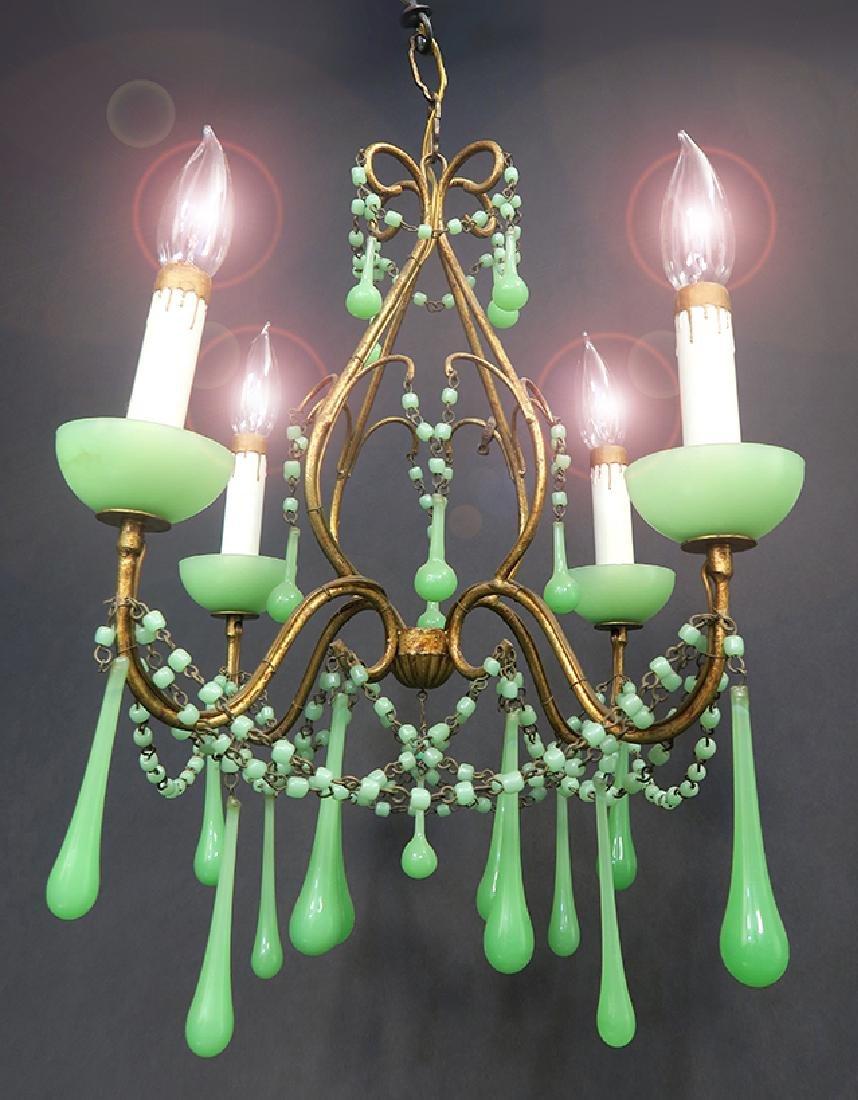 French Opaline Chandelier (4 Light)