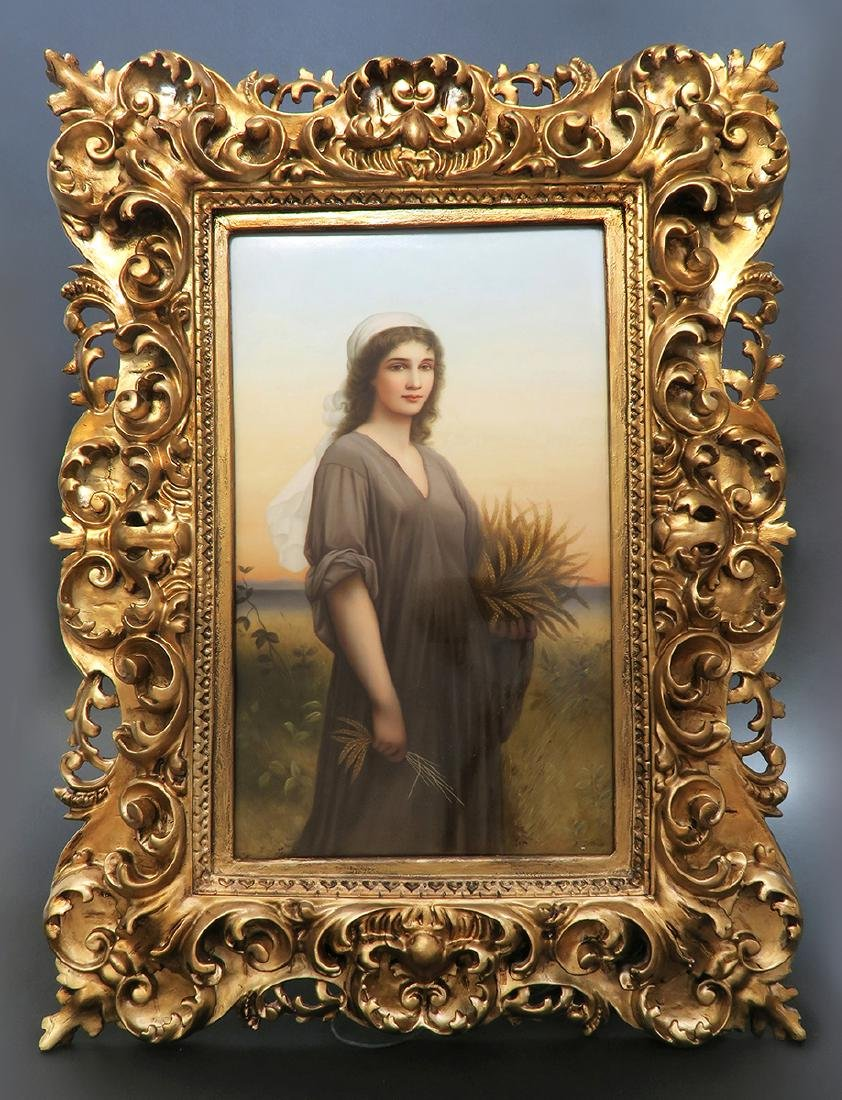 """Monumental Framed KPM Plaque of """"Ruth in the cornfield"""""""