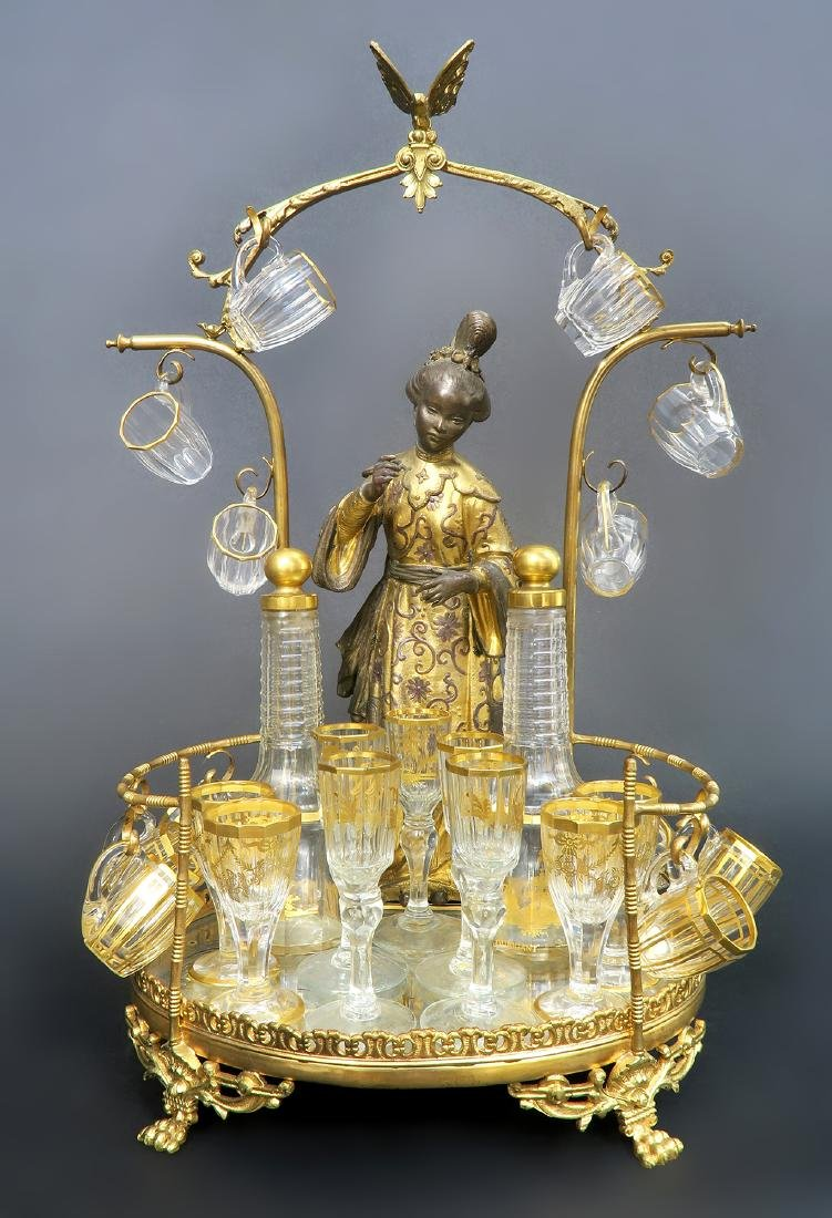 French Chinoiserie Bronze & Baccarat Crystal Tantalus