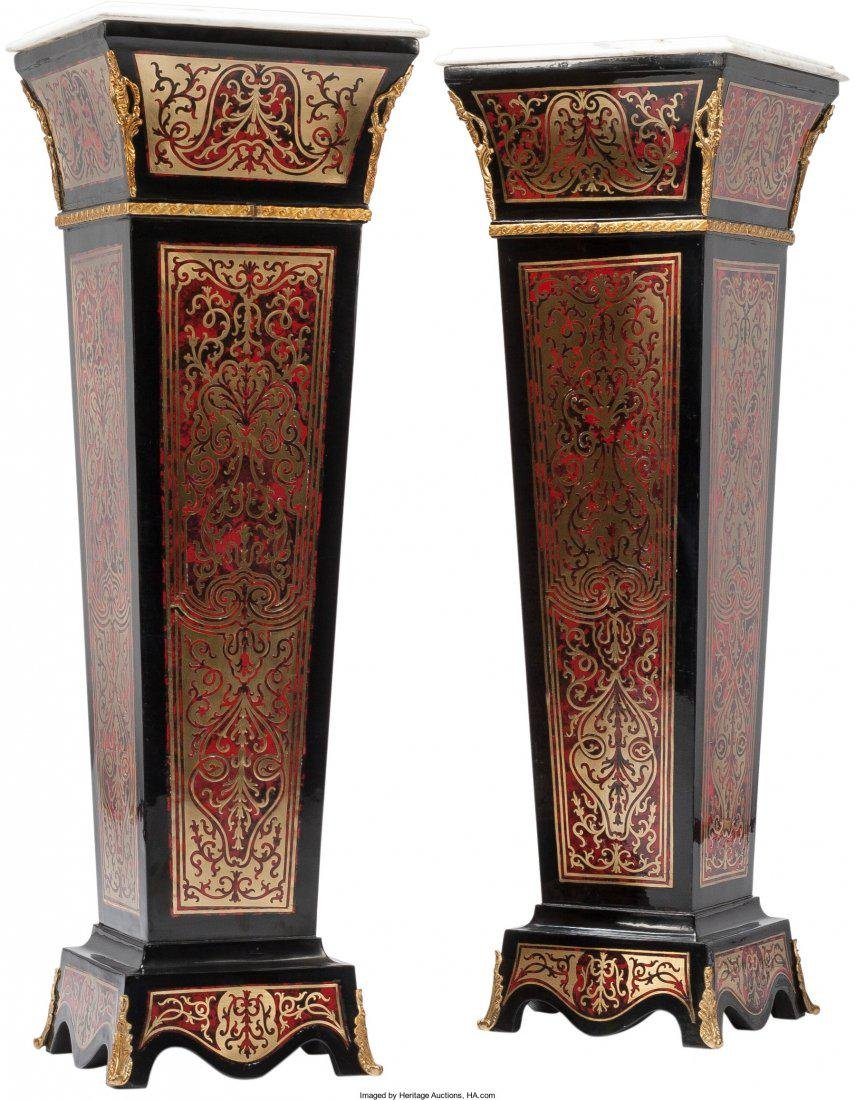 A Pair of Napoleon III-Style Faux Painted Boulle
