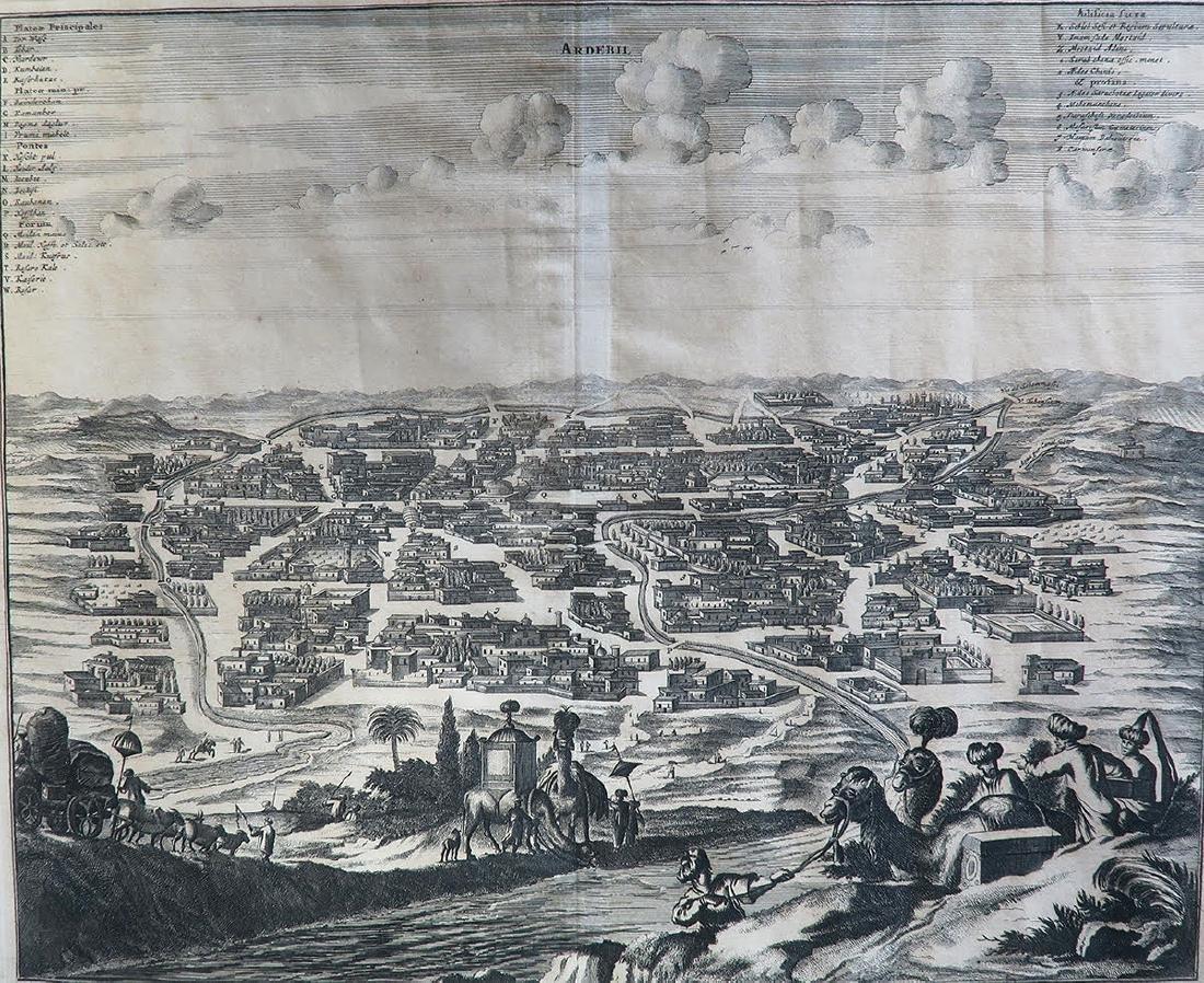 17th C. Persian Chiaroscuro Map of Ardebil