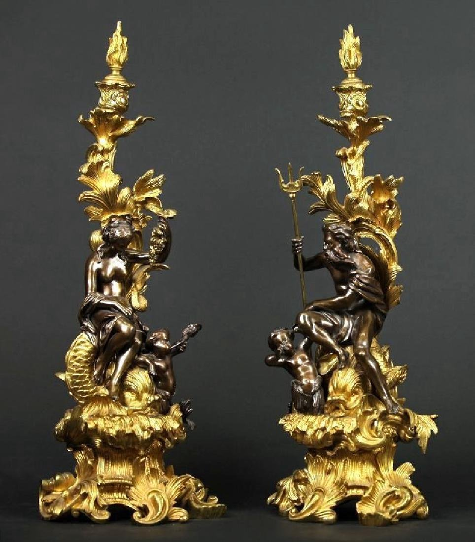 Pair of Gilt & Patinated Bronze Candle Sticks/ Chenets