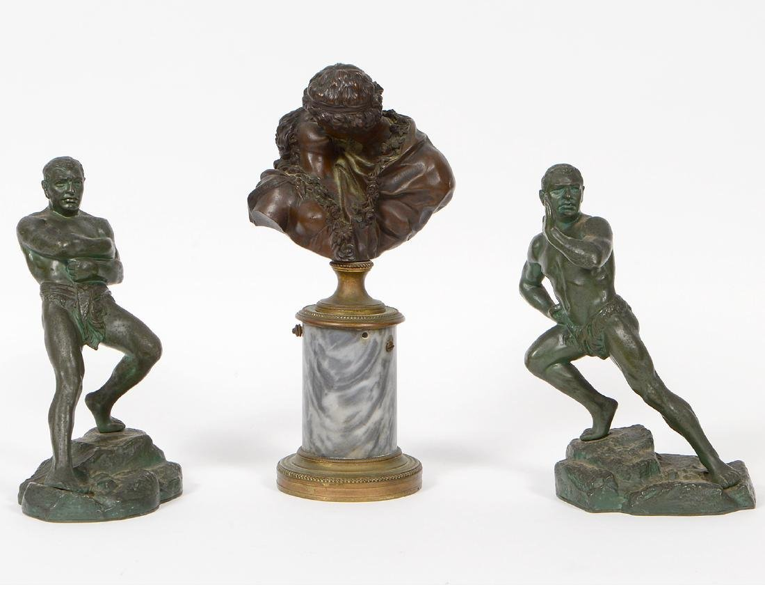 French Bronze Set of Lovers Bust & Two Clad Wrestlers