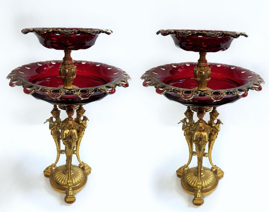 Pair of French Figural Bronze & Ruby Baccarat Compotes