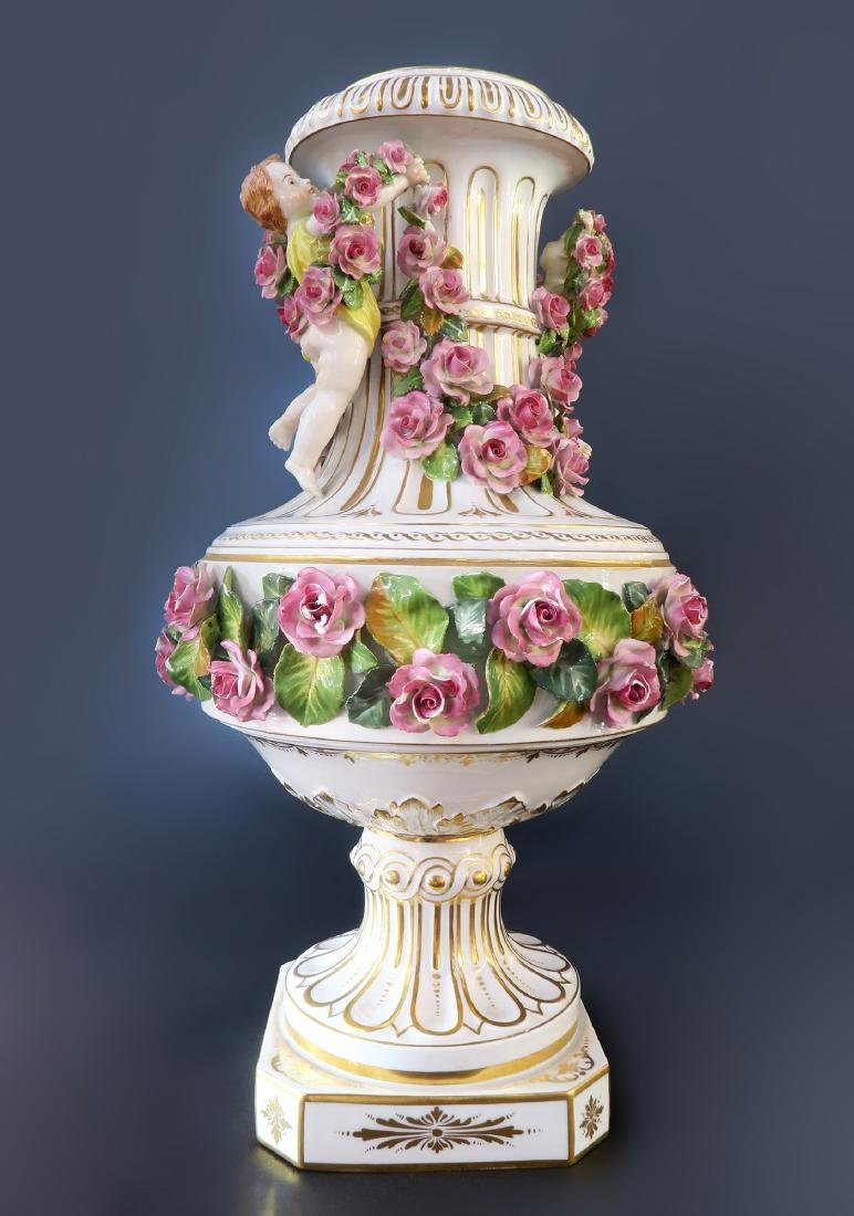 19th C. German Dresden Meissen Style Porcelain Vase
