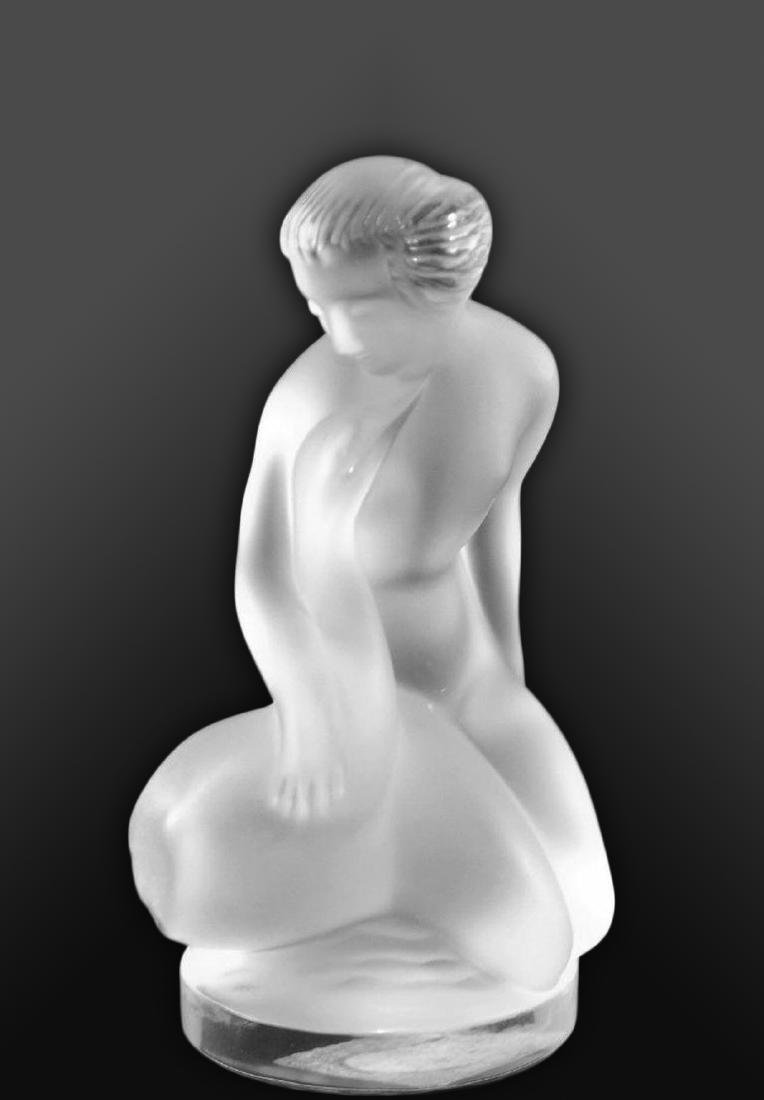 "LALIQUE ""Leda and The Swan"" Crystal Figurine, Signed! - 7"