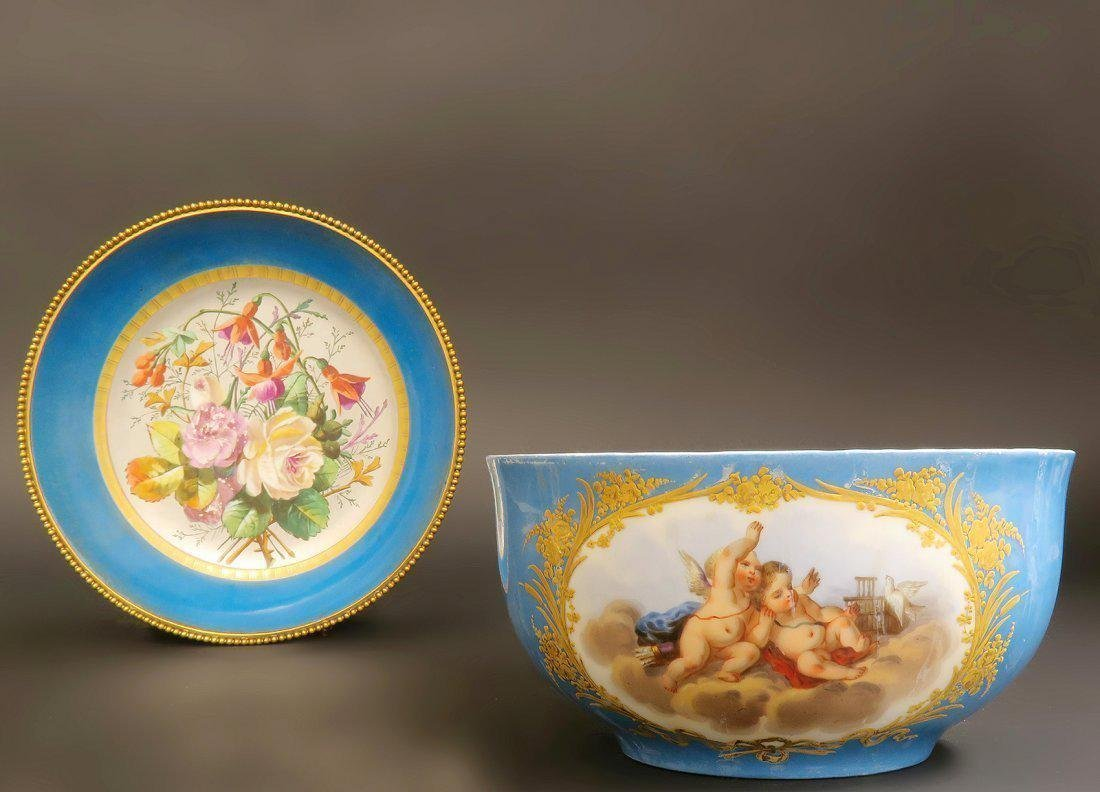 Large 19th C. Sevres Style Hand Painted Bowl & Plate