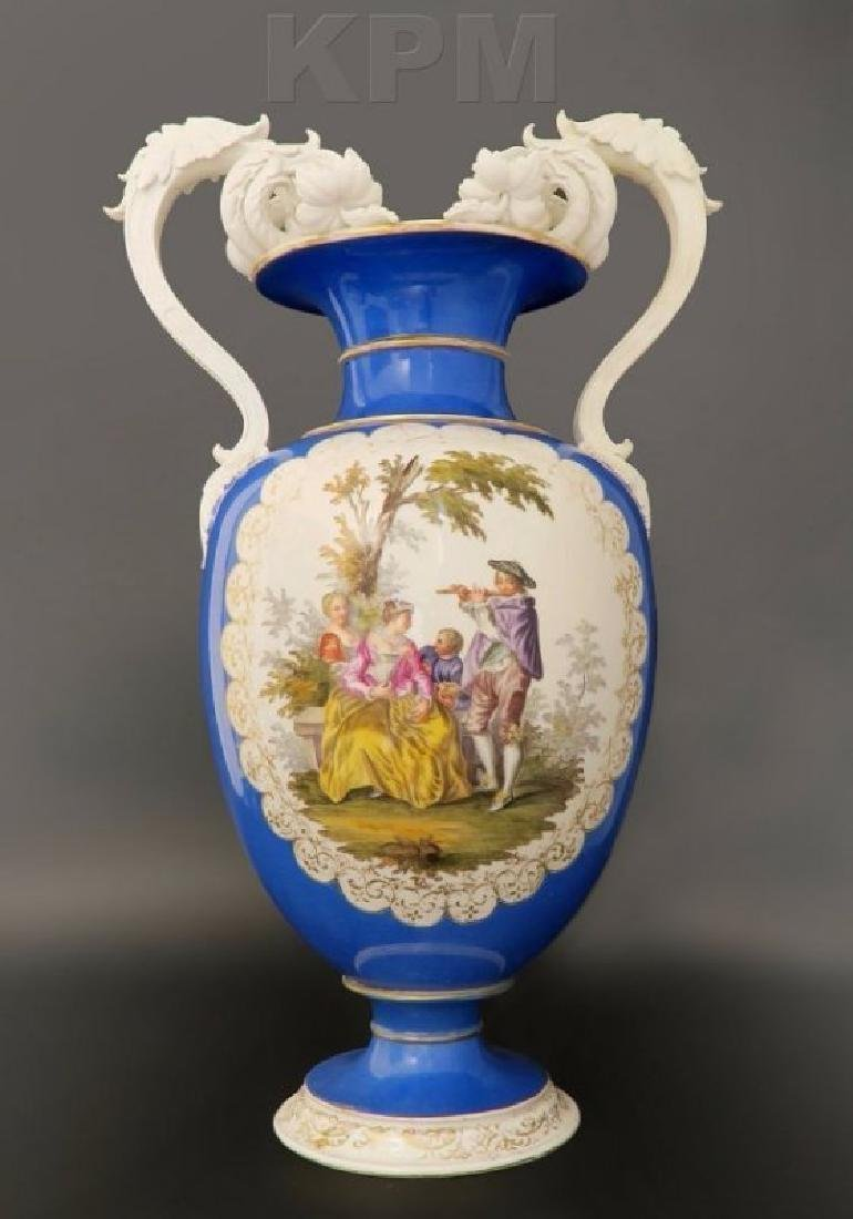 Large 19th C. Hand Painted Porcelain KPM Vase