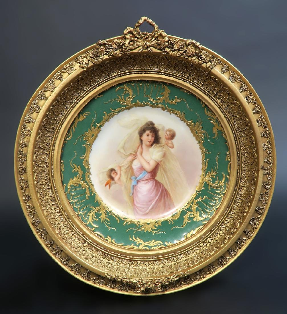 19th C. Hand Painted Royal Vienna Framed Plate