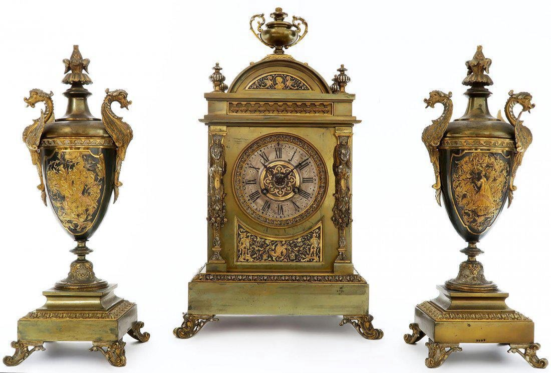 French Bronze Figural Mantle Clock Set