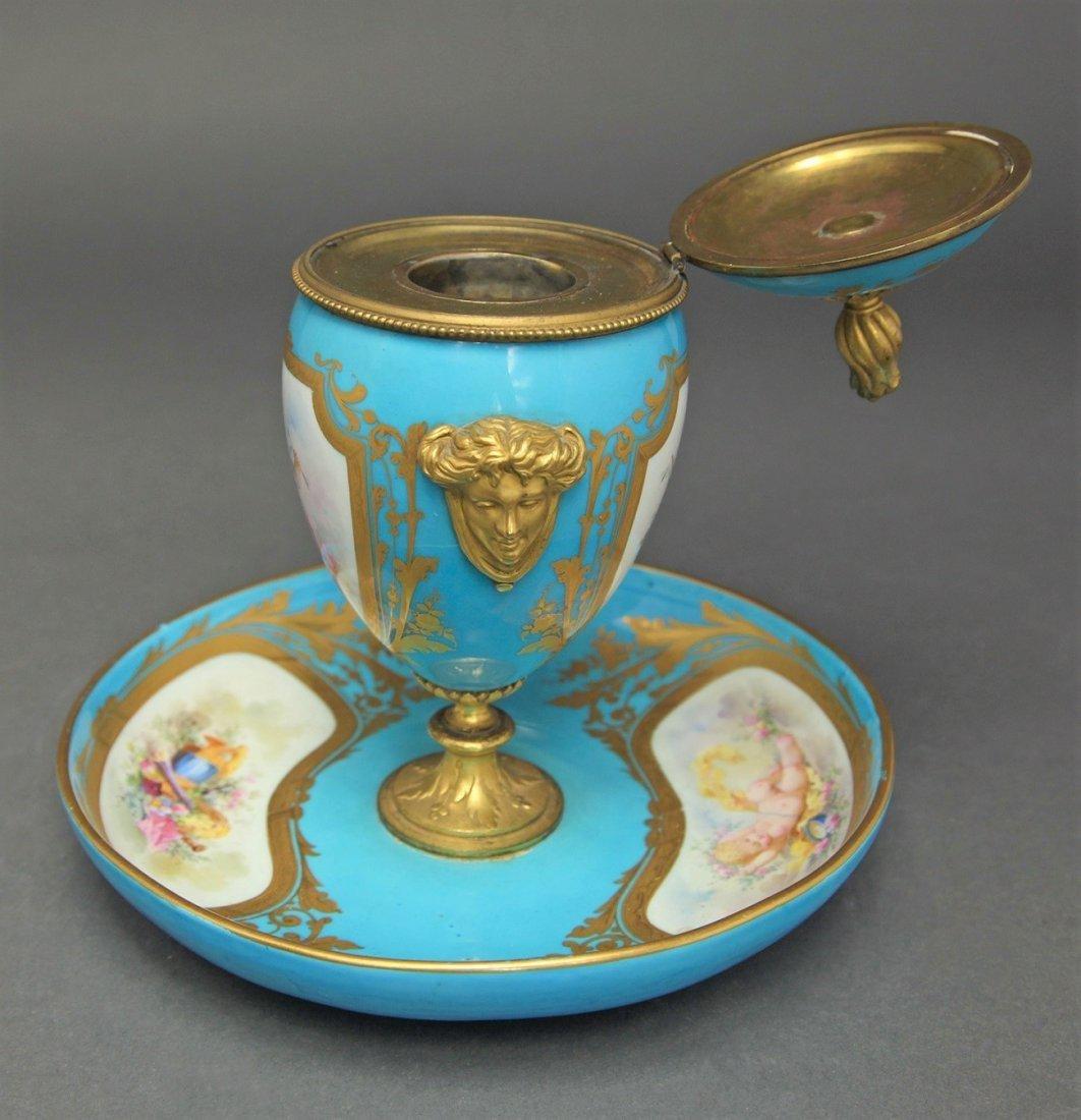 19th C. French Sevres Porcelain & Bronze Urn - 3