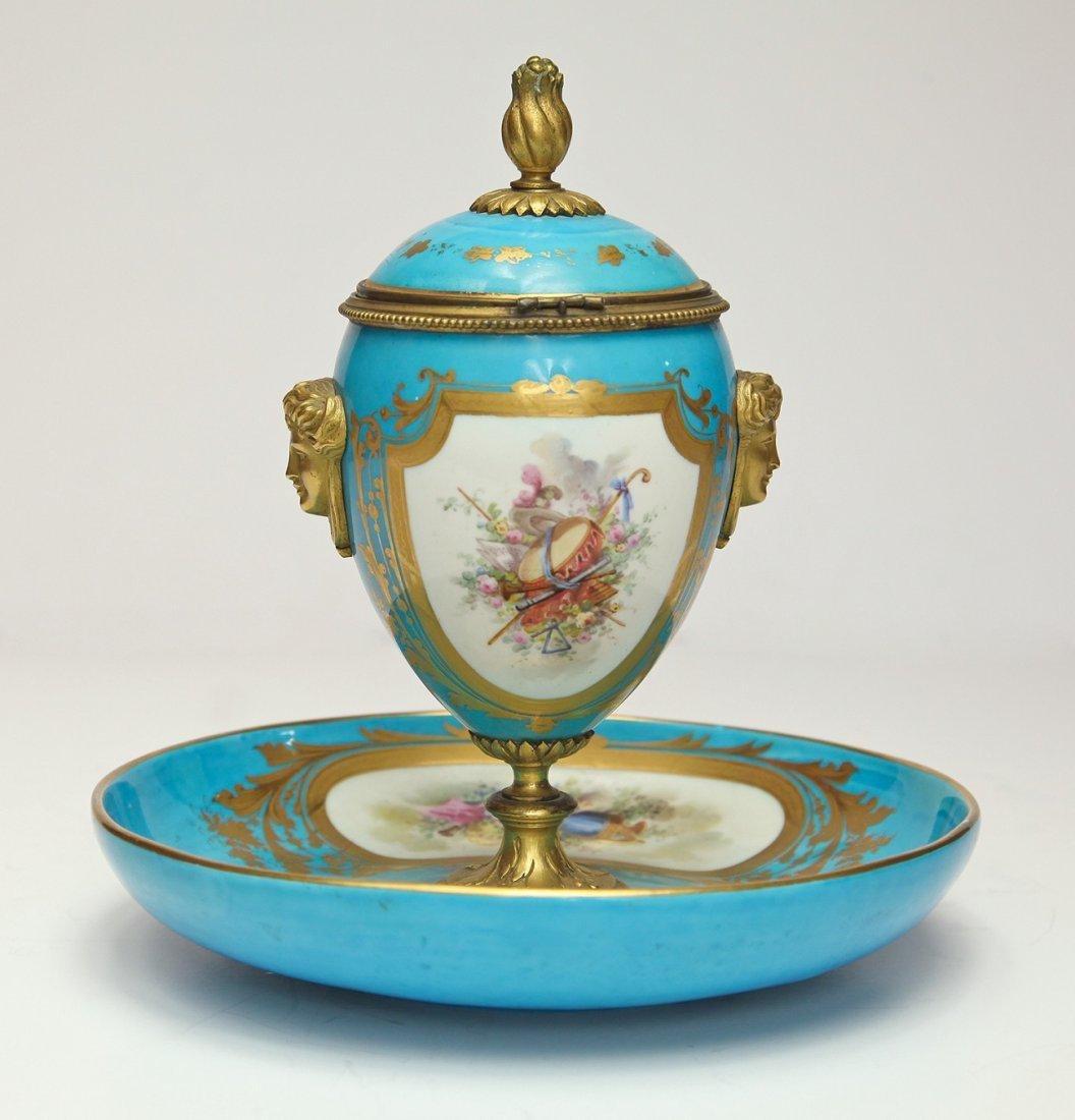 19th C. French Sevres Porcelain & Bronze Urn - 4