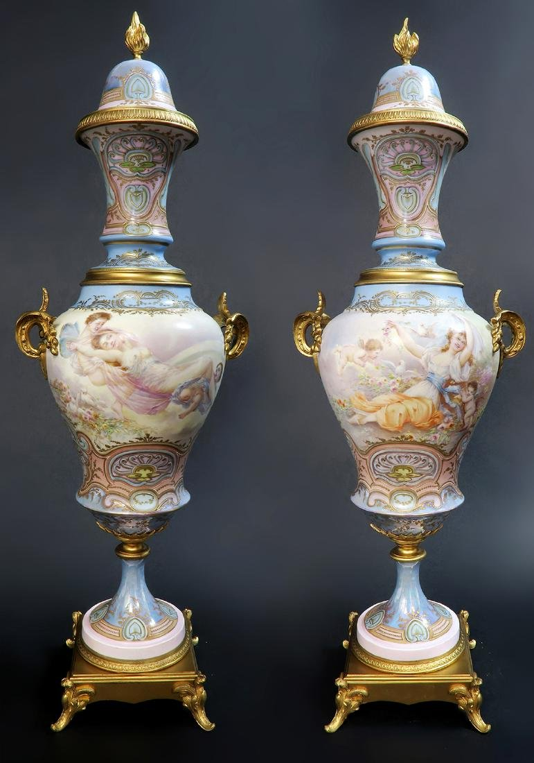 Large Pair of 19th C. Bronze-Mounted Sevres Vases
