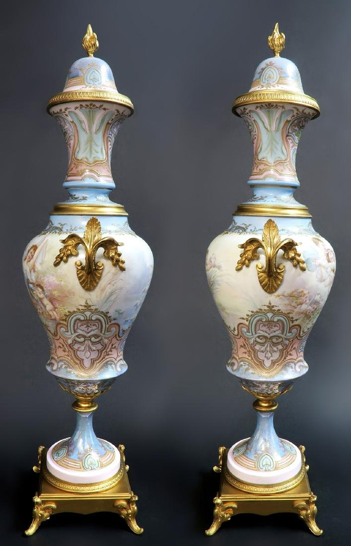 Large Pair of 19th C. Bronze-Mounted Sevres Vases - 4
