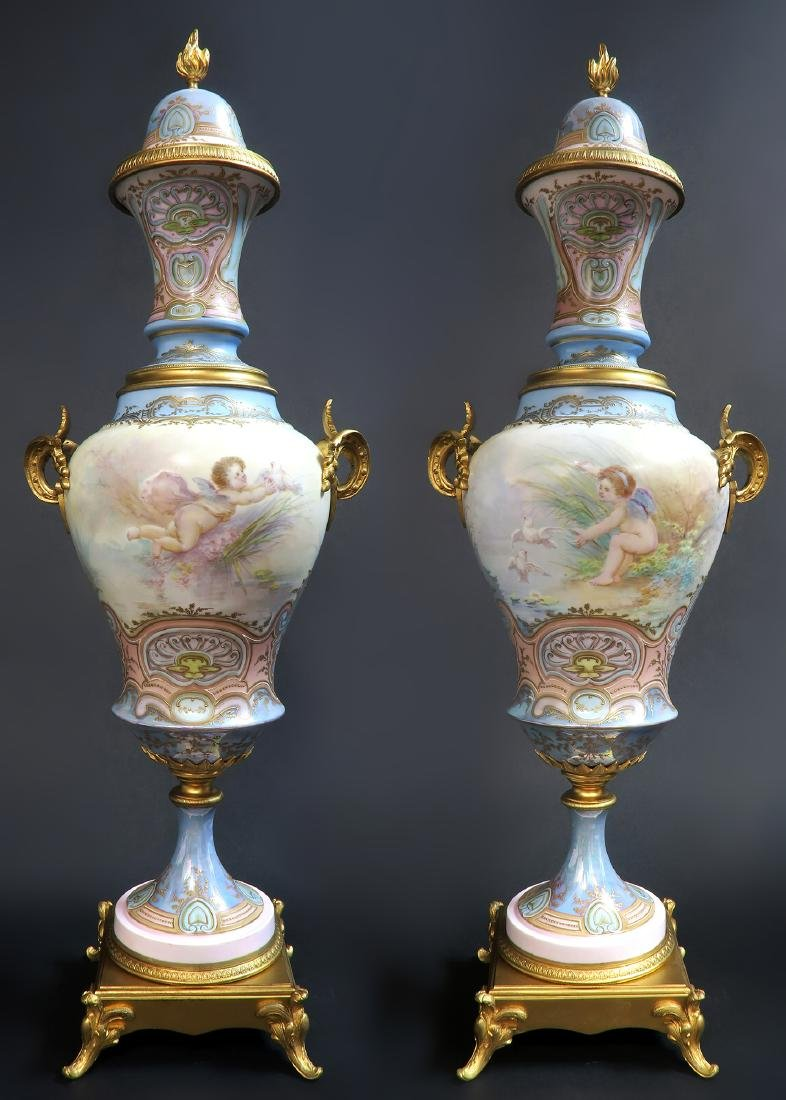 Large Pair of 19th C. Bronze-Mounted Sevres Vases - 5