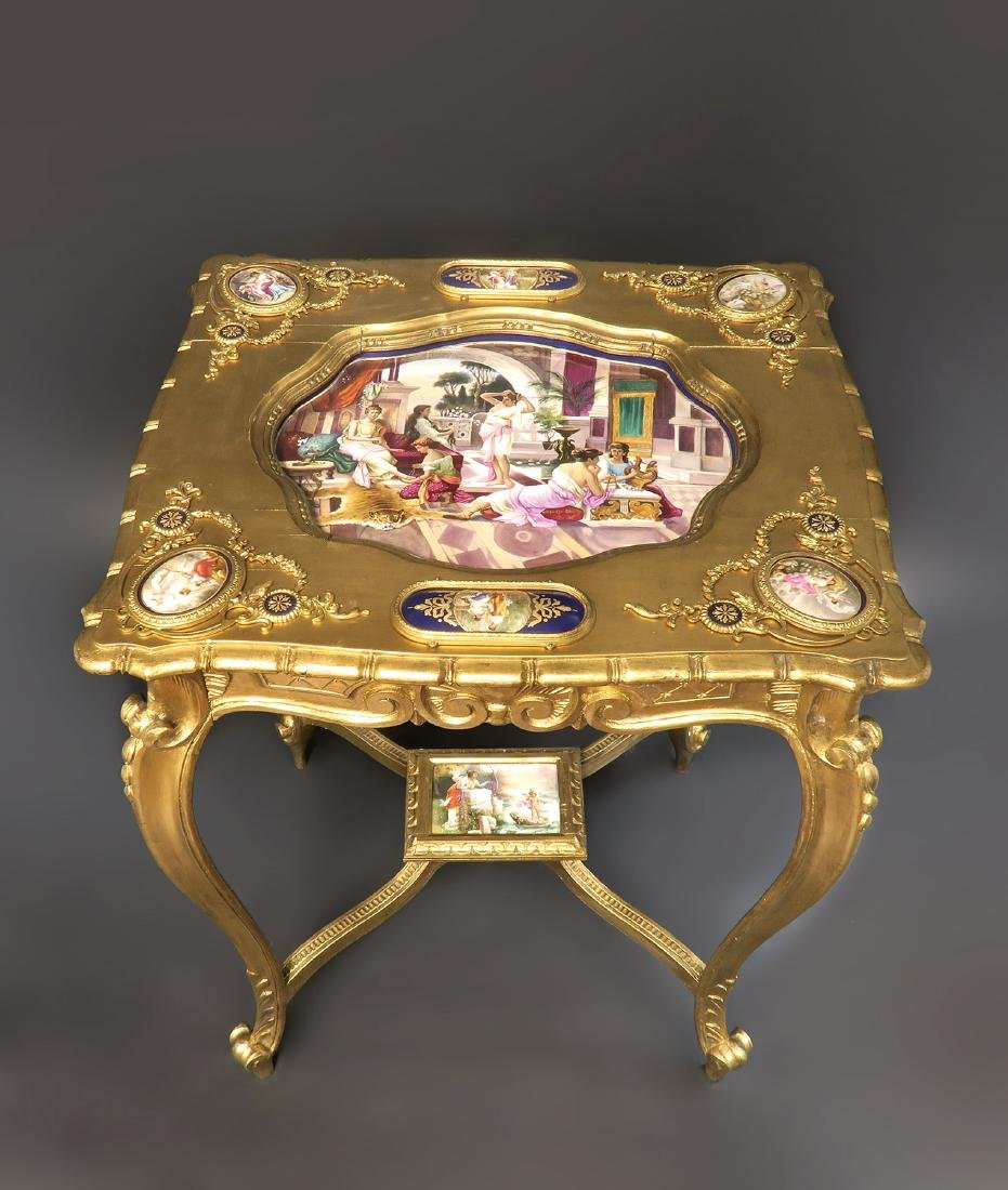 19th C Orientalist Hand Painted Royal Vienna Side Table