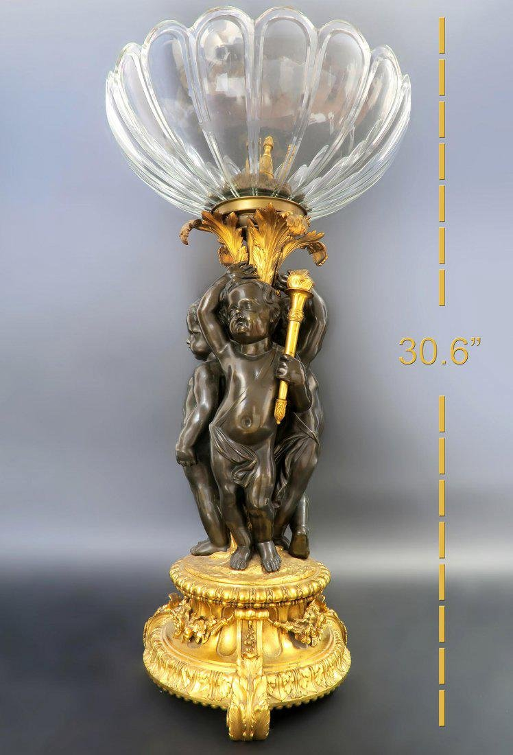 Monumental French Bronze & Baccarat Crystal Centerpiece