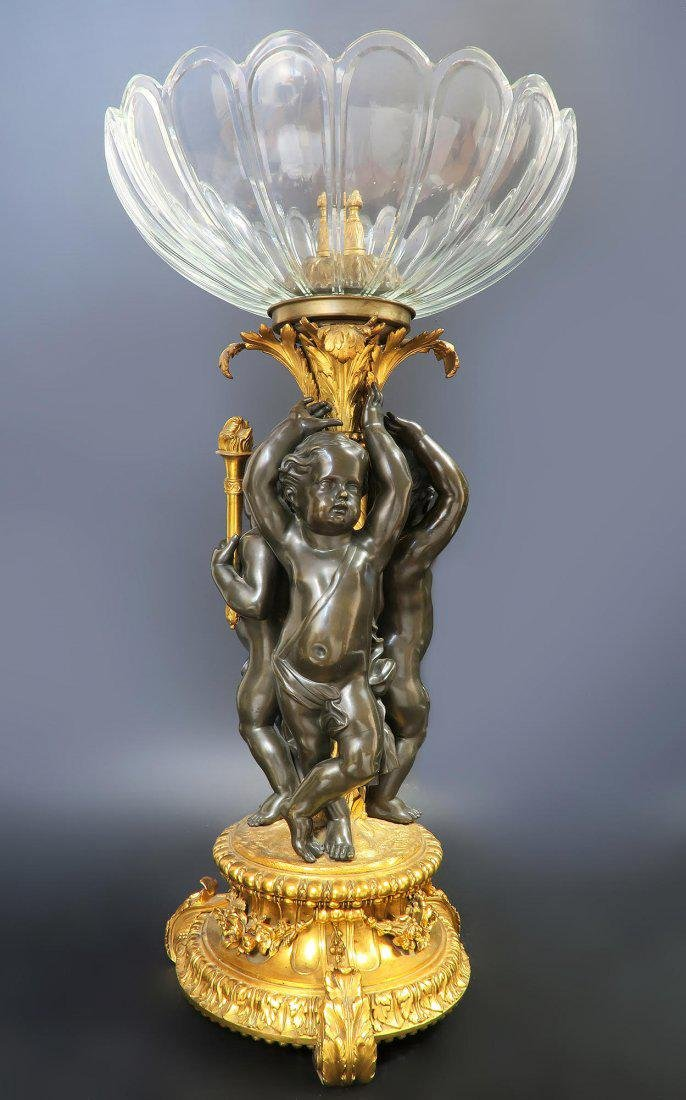 Monumental French Bronze & Baccarat Crystal Centerpiece - 4