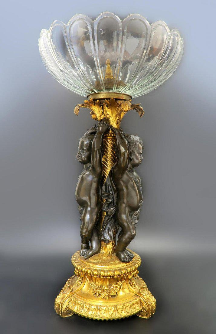Monumental French Bronze & Baccarat Crystal Centerpiece - 5