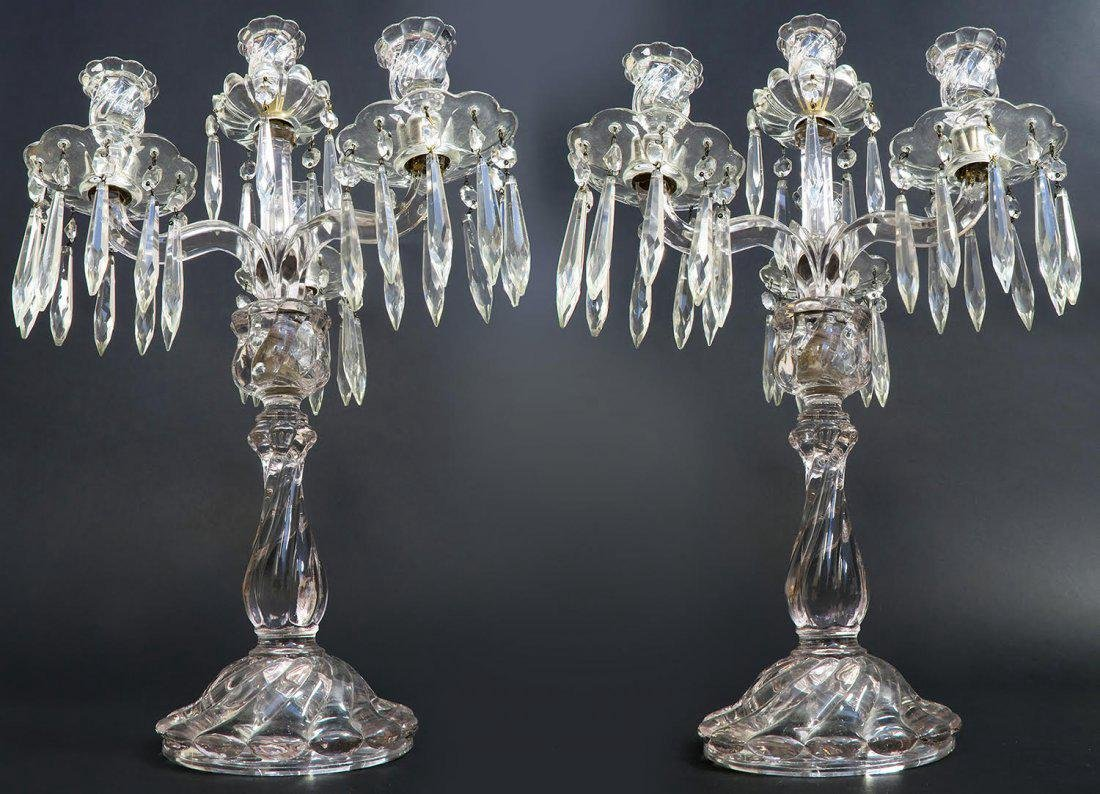 19th C. Pair of Baccarat Style Crystal Candelabras - 3