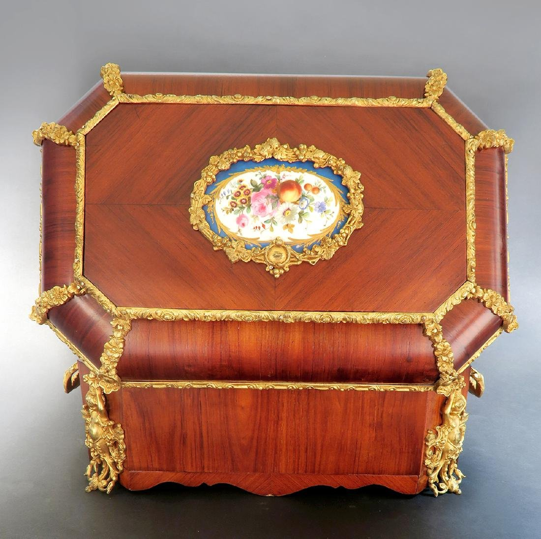 19th C. Napoleon III Tulip-wood Bronze Sevres Large Box - 6