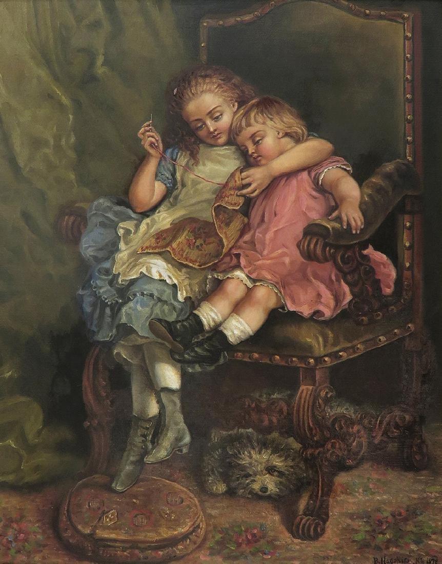 "19th C. Oil on Canvas Painting By ""B. Hagohiam"" - 2"