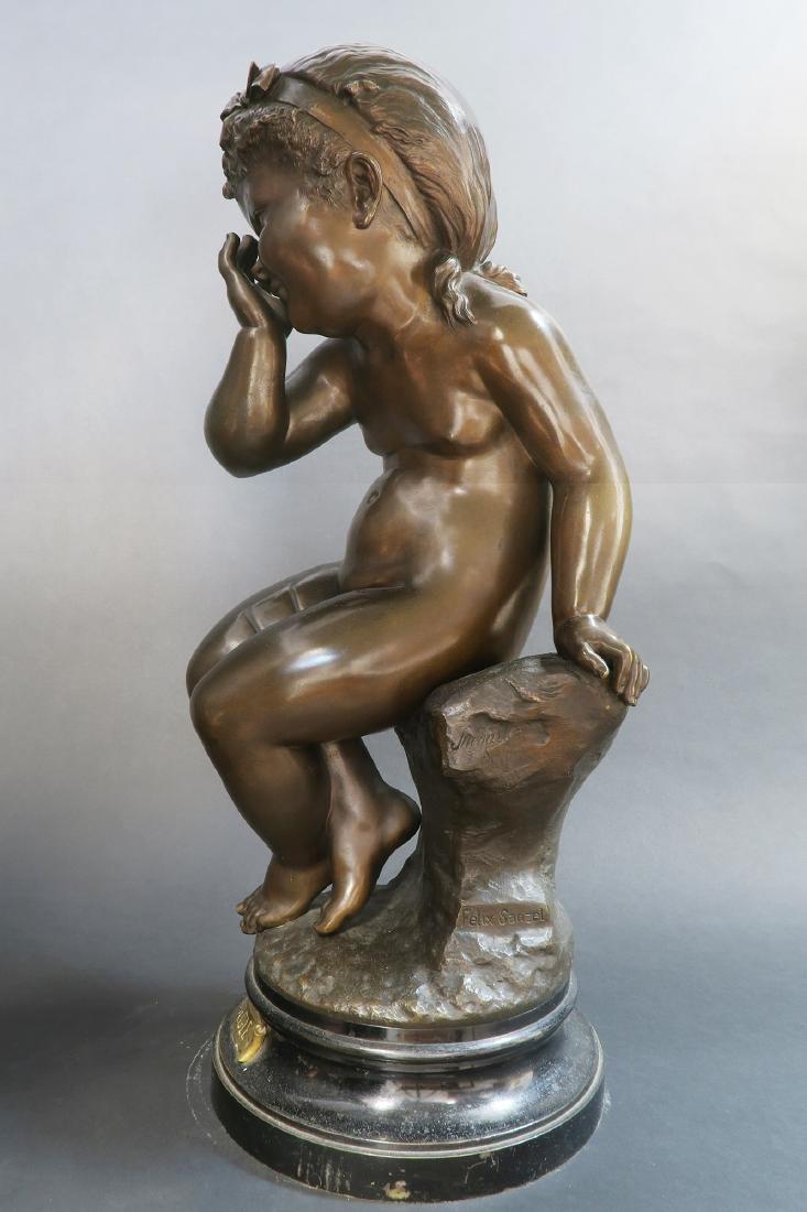 Felix Sanzel Large Bronze Sculpture of Girl L'ESPIEGLE - 2