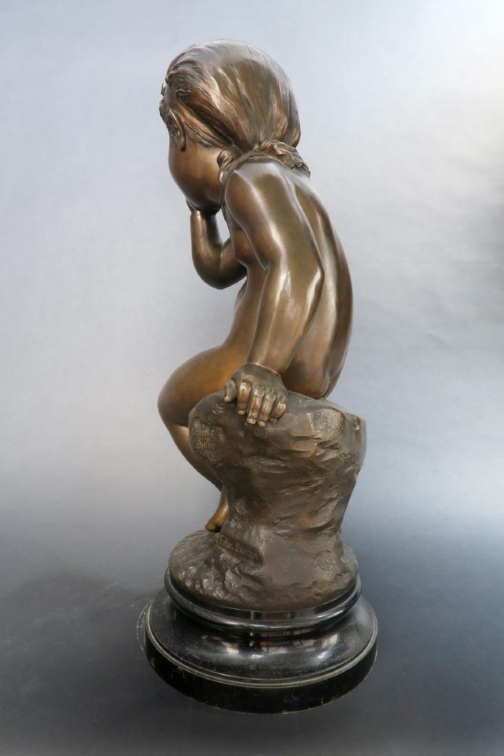 Felix Sanzel Large Bronze Sculpture of Girl L'ESPIEGLE - 3
