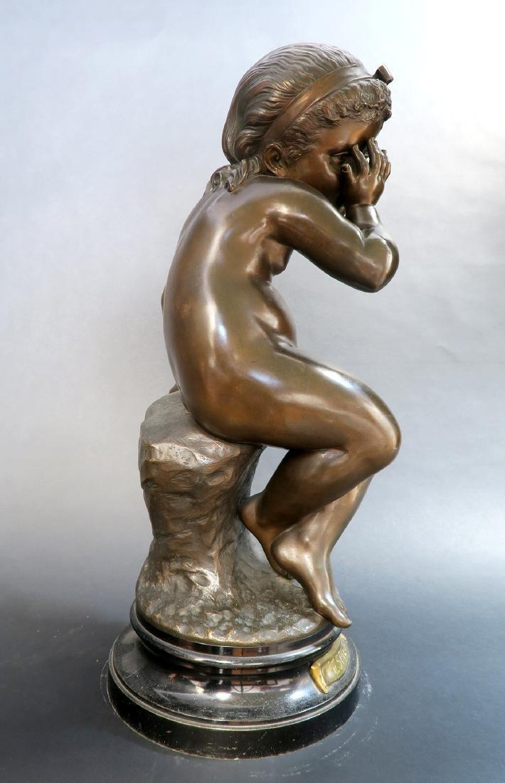 Felix Sanzel Large Bronze Sculpture of Girl L'ESPIEGLE - 5