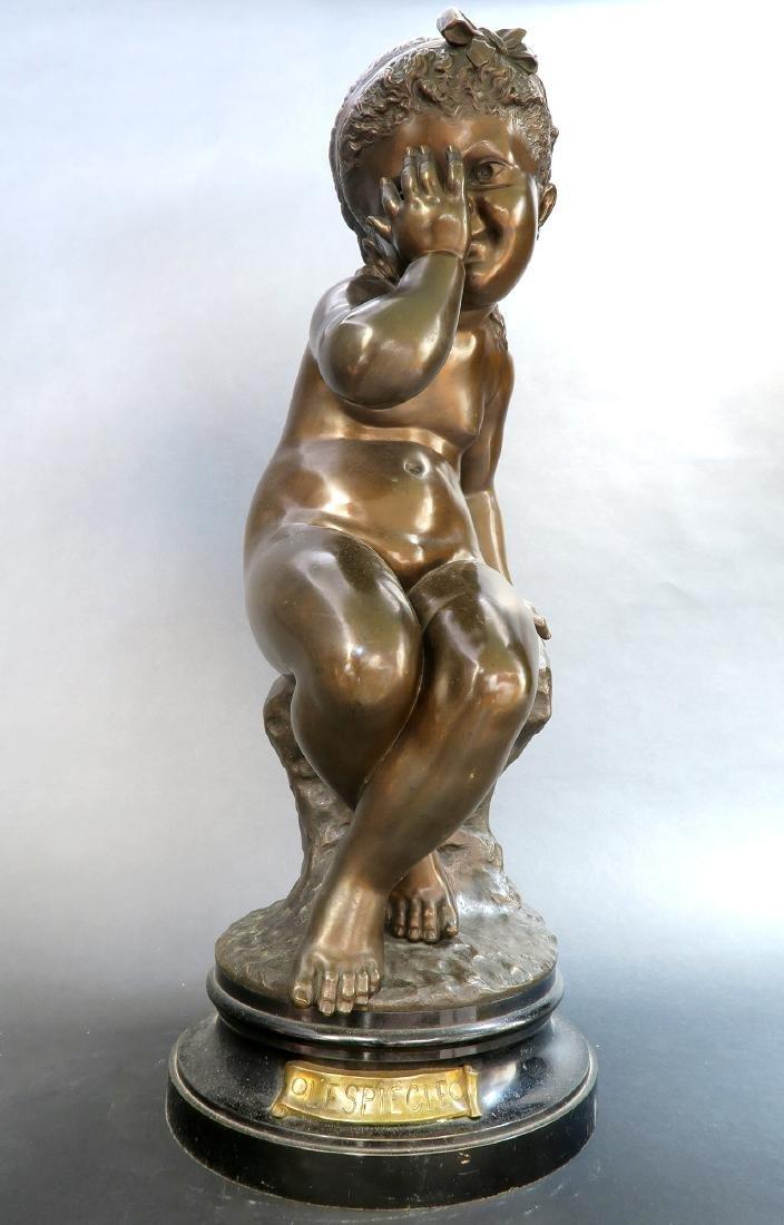 Felix Sanzel Large Bronze Sculpture of Girl L'ESPIEGLE - 6