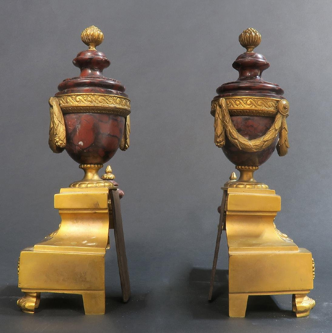 Pair of Rouge Marble & Gilt-bronze Fireplace Chenets - 2