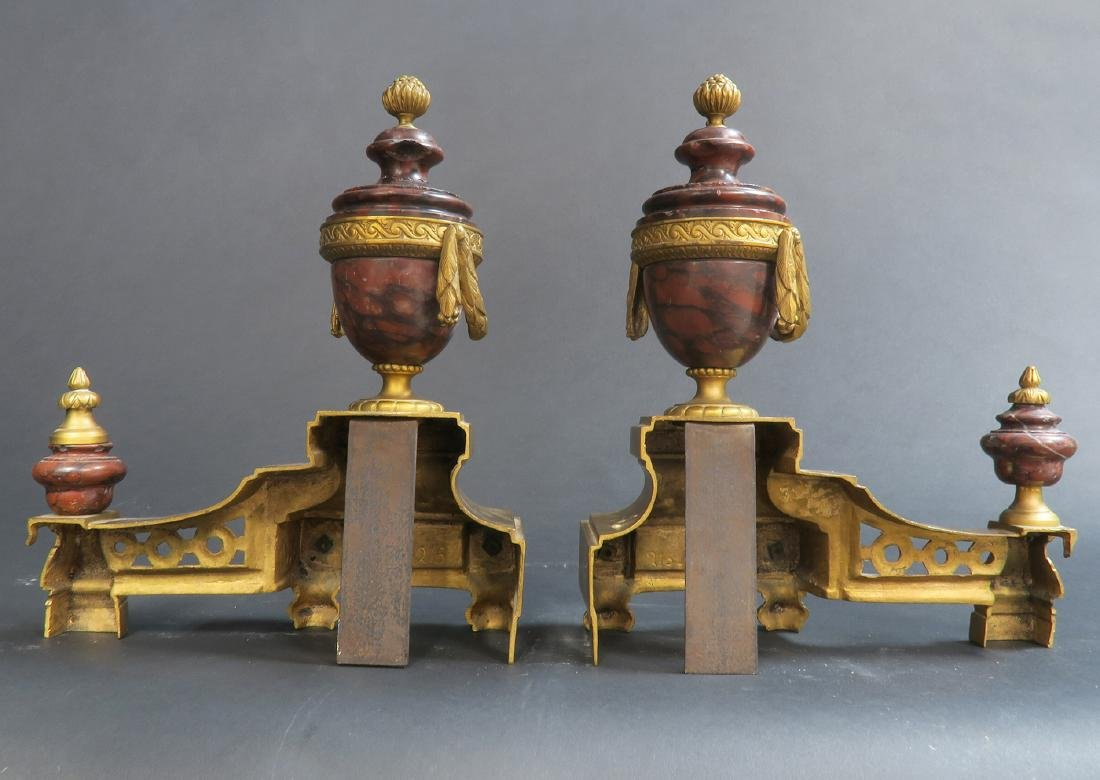 Pair of Rouge Marble & Gilt-bronze Fireplace Chenets - 3