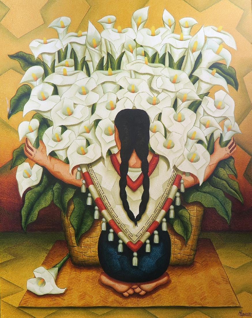 """""""Lady holding Flowers"""" Large Oil on Canvas By H.Spiritu"""