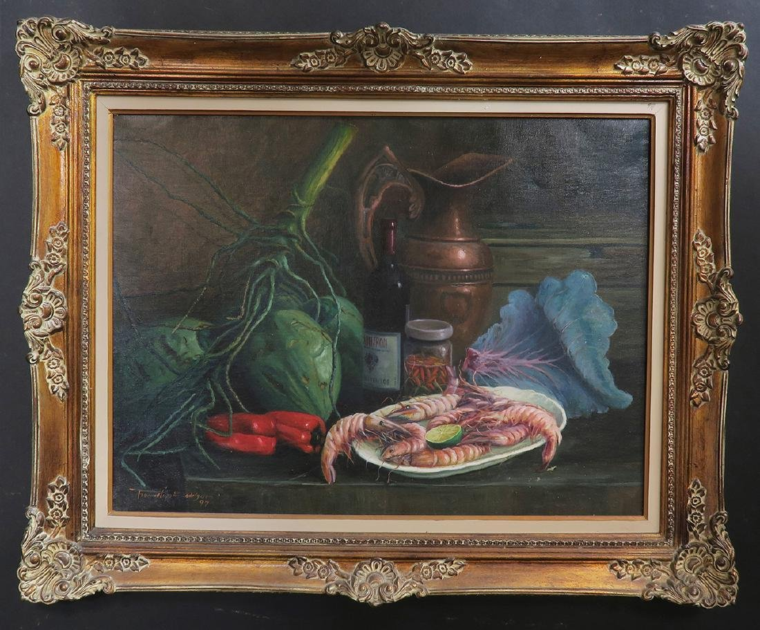 """""""Shrimp Dish"""" Oil on Canvas Painting, Signed!"""
