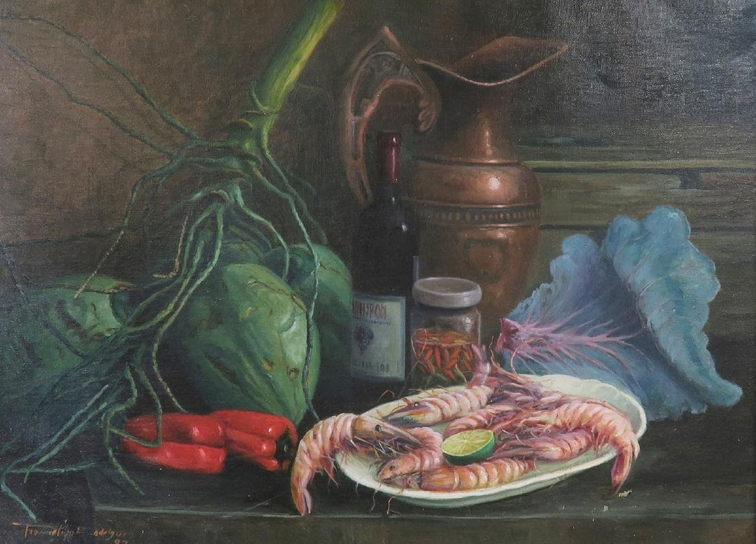 """""""Shrimp Dish"""" Oil on Canvas Painting, Signed! - 2"""