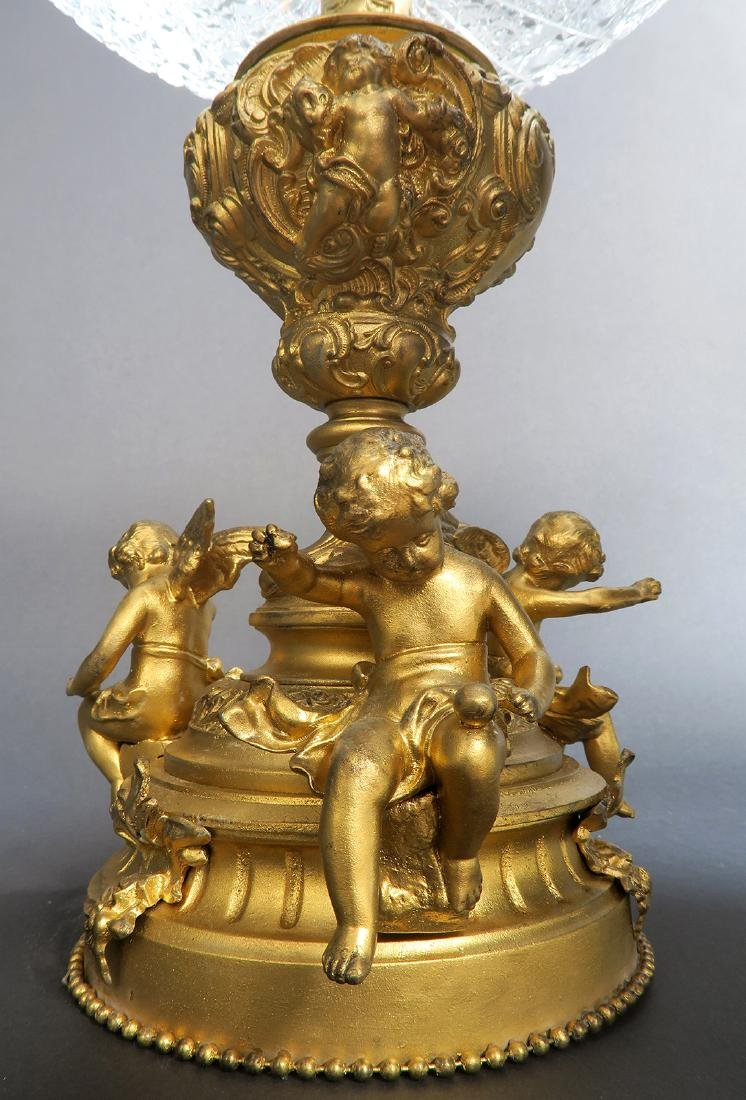 French Large Bronze & Crystal Figural Centerpiece - 4
