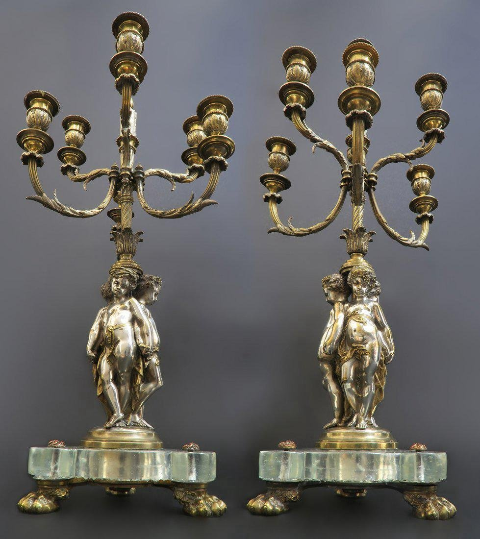 Large Pair of 19th C. Baccarat Figural Candelabras - 2