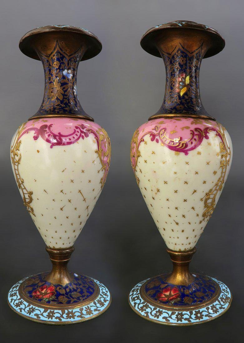 19th C French Pair of Champleve Enamel Urns/Vases - 2