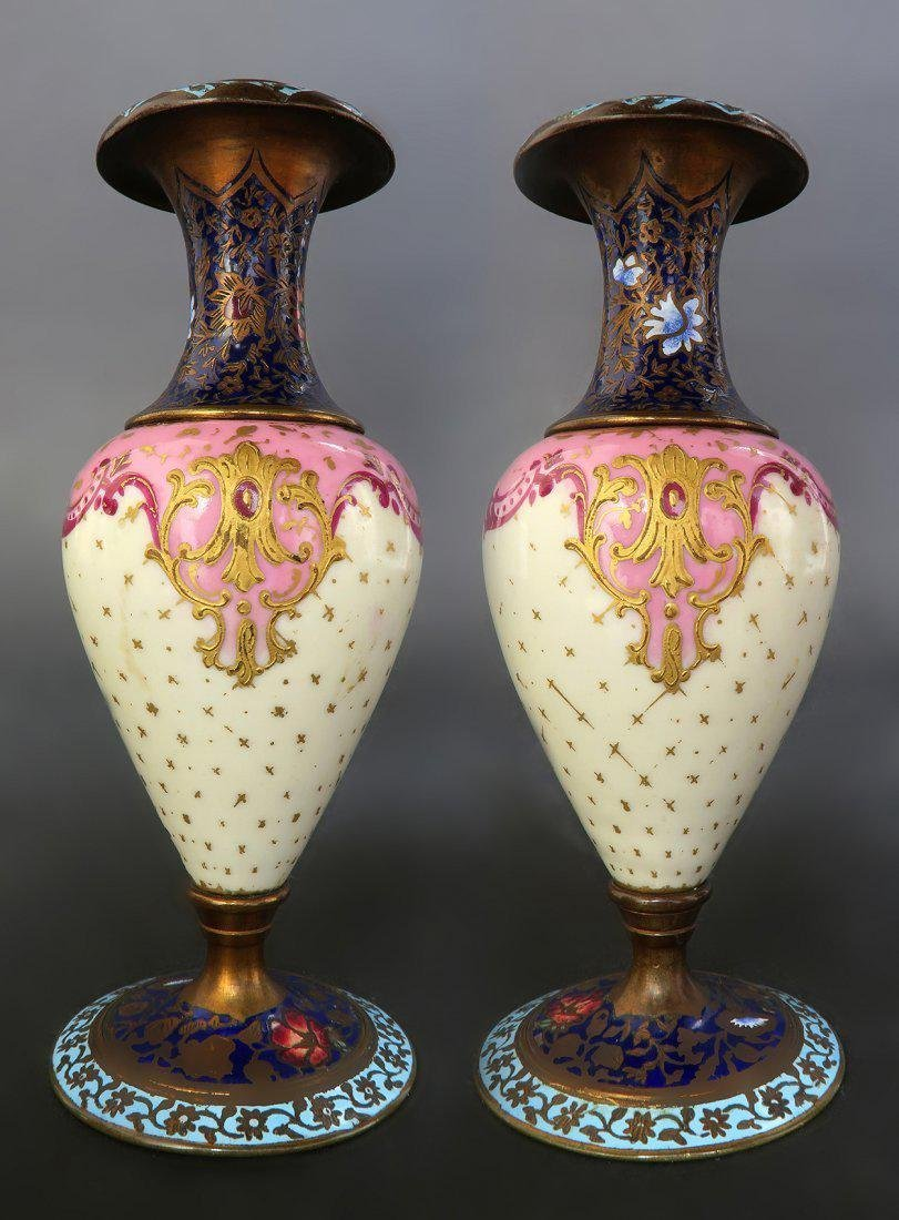 19th C French Pair of Champleve Enamel Urns/Vases - 3